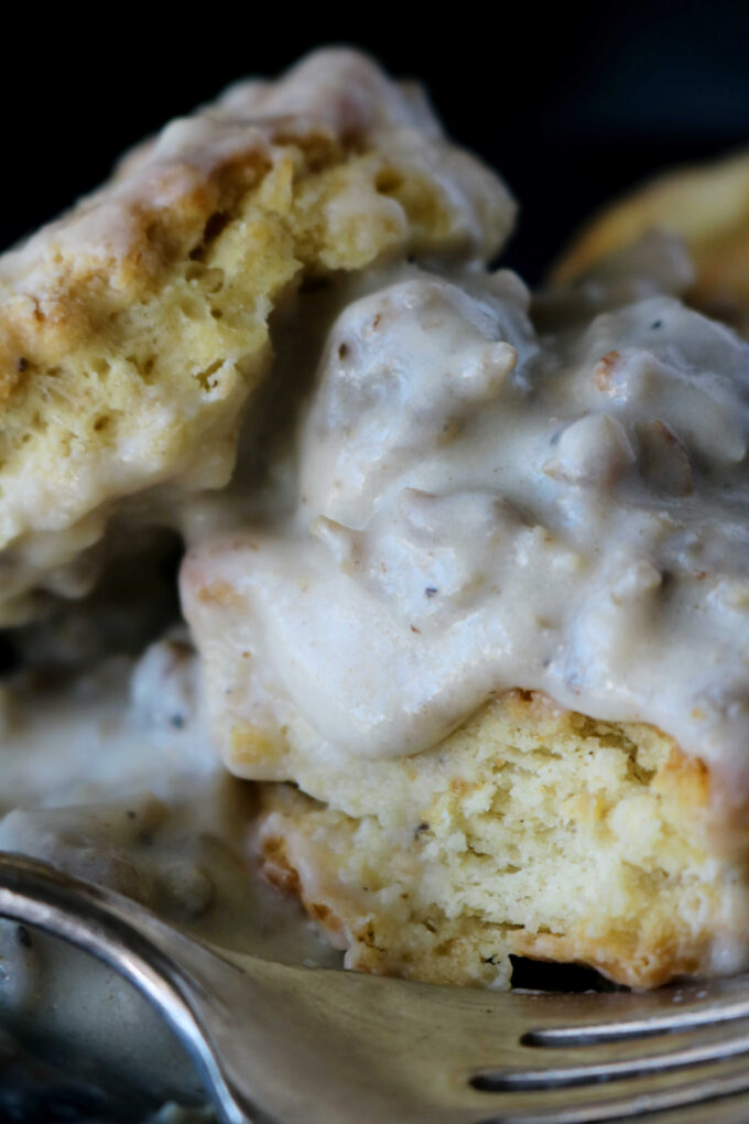homemade biscuits and country gravy