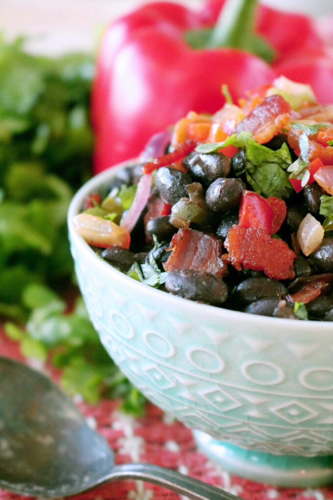 Black Beans with bacon, onions, and peppers