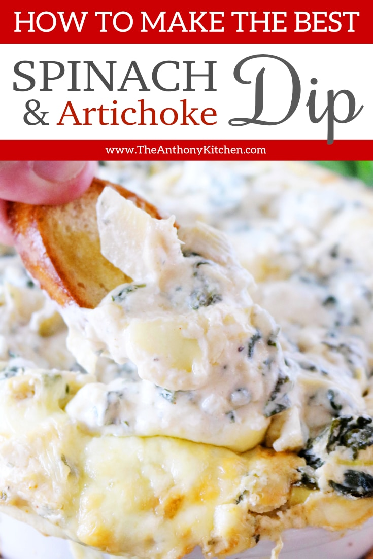 A baked, cheesy spinach and artichoke dip, featuring freshly sauteed spinach, Fontina cheese, and marinated artichoke hearts. Addictively delicious and absolutely perfect potluck party food! #partydips #spinachdip #spinachandartichokedip #hotdiprecipes #diprecipes #creamcheesedips #theanthonykitchen #partyfood #gamedayfood
