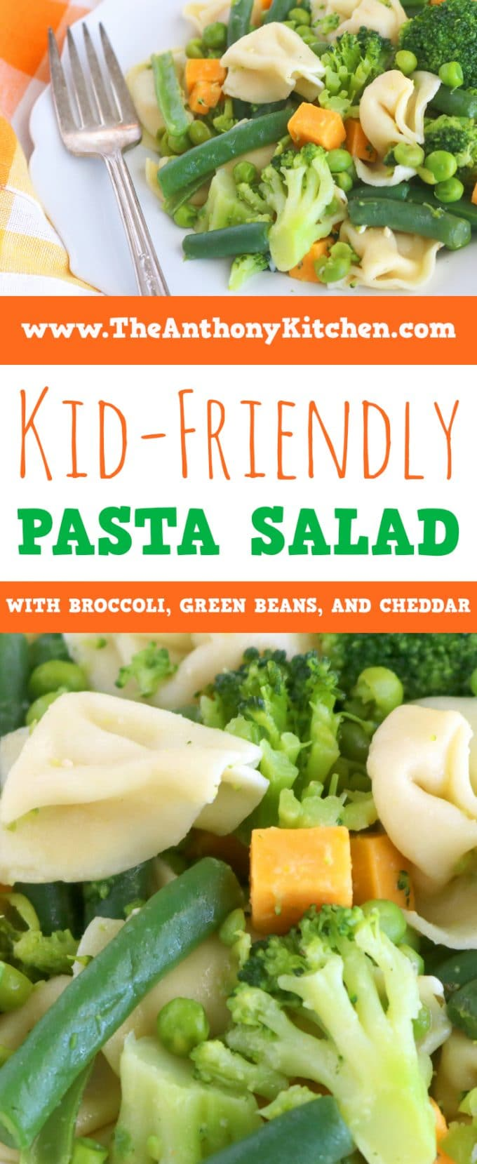Kid-Friendly Dinner Idea - Pasta Salad with cheese tortellini, broccoli, green beans, peas, and Cheddar Cheese