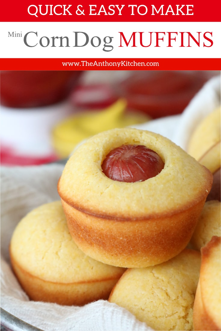 A quick and easy recipe for mini corn dog muffins, featuring a homemade cornbread batter and hot dogs. Perfect for game day snacks, make-ahead lunches, and quick-fix dinners. #theanthonykitchen #gamedayeats #appetizers #footballfood #gamedayfood #lunchbox #lunchboxrecipes #kidfriendlyfood #quickfixdinner #minimuffincorndogs #kidfood #lunchboxideas #tailgatingfood #easyrecipes #toddlerfood #dinnerideas