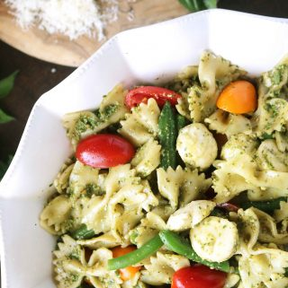 Pesto Pasta Salad with Green Beans and Tomatoes