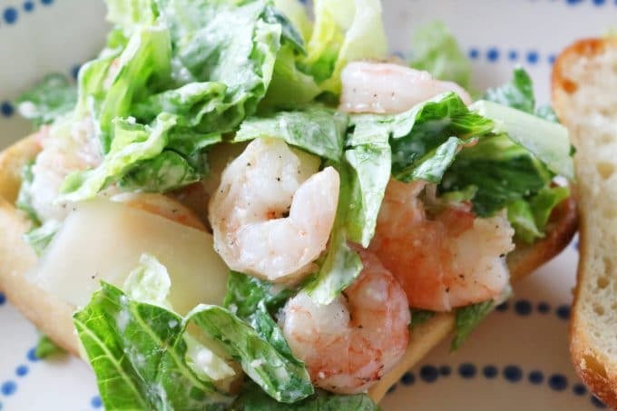 Easy Dinner Sandwich Recipe with Shrimp and Caesar Dressing