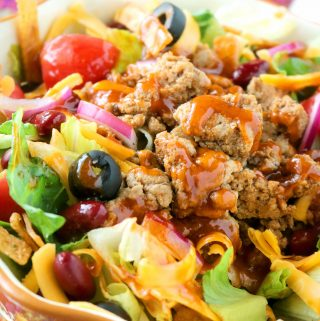 Healthy Taco Salad with Ground Turkey and Catalina Dressing