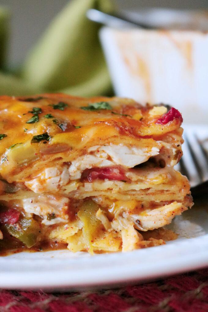 King Ranch Casserole | Stacked Chicken Enchiladas