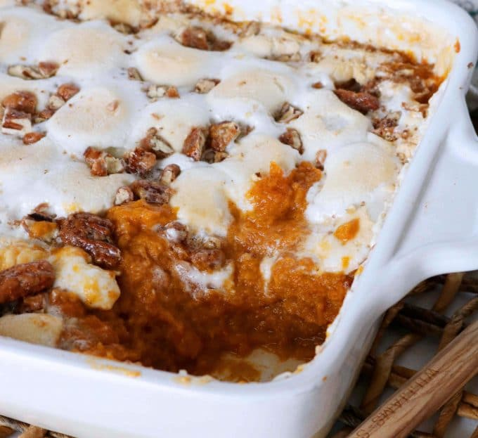 Sweet Potato Casserole with Marshmallows and Pecans