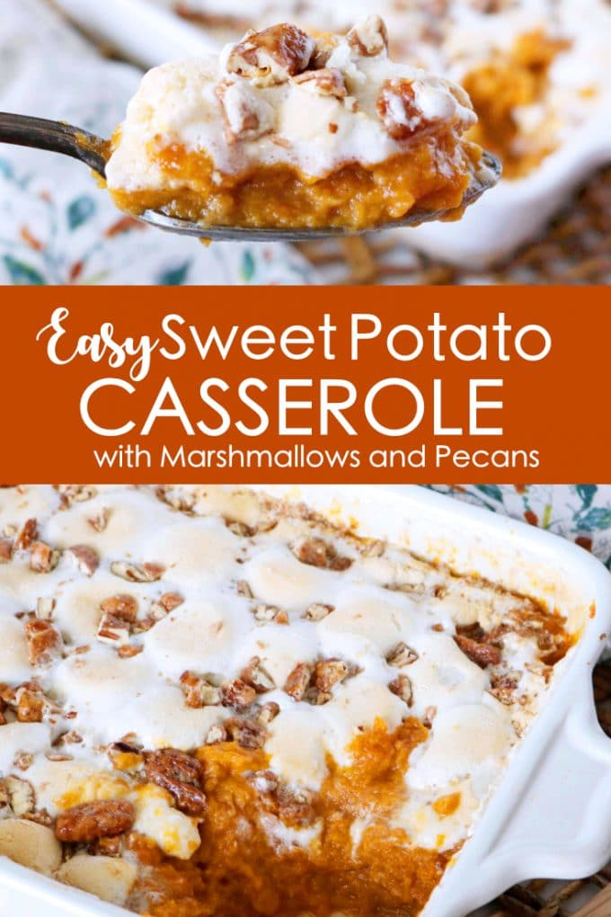 Sweet Potato Casserole with Pecans and Marshmallows