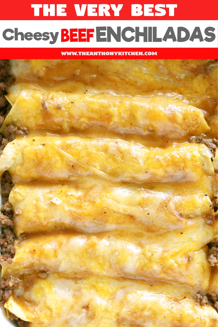 The only recipe you'll ever need for authentic Tex-Mex beef enchiladas. Featuring ground beef enchiladas, a homemade beef gravy, and a freshly grated cheese blend. #enchiladas #mexicanfood #beeferecipes #casserolerecipes #familydinner #comfortfoodrecipes #theanthonykitchen #enchiladas