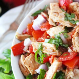 Bruschetta Chicken Salad with Balsamic Dressing| Recipe