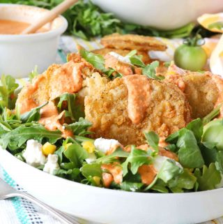Fried Green Tomato Salad with Corn and Goat Cheese