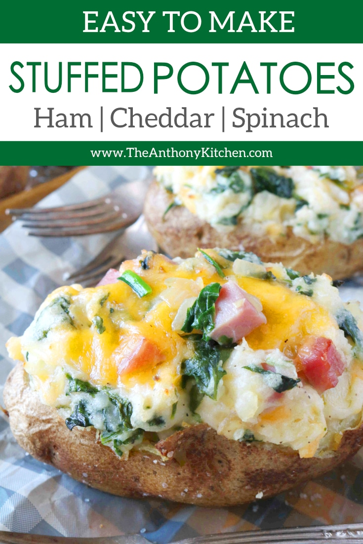 A gluten-free, kid-friendly dinner recipe featuring stuffed potatoes with cubed ham, spinach, and cheddar cheese. Budget-friendly and filling! Make these potatoes for your family dinner tonight! #stuffedpotatoes #potatorecipes #budgetfriendlymeals #hamandcheese #dinnerideas #kidfriendlydinner #kidfood #dinnerrecipes #spinach #dinner #glutenfree