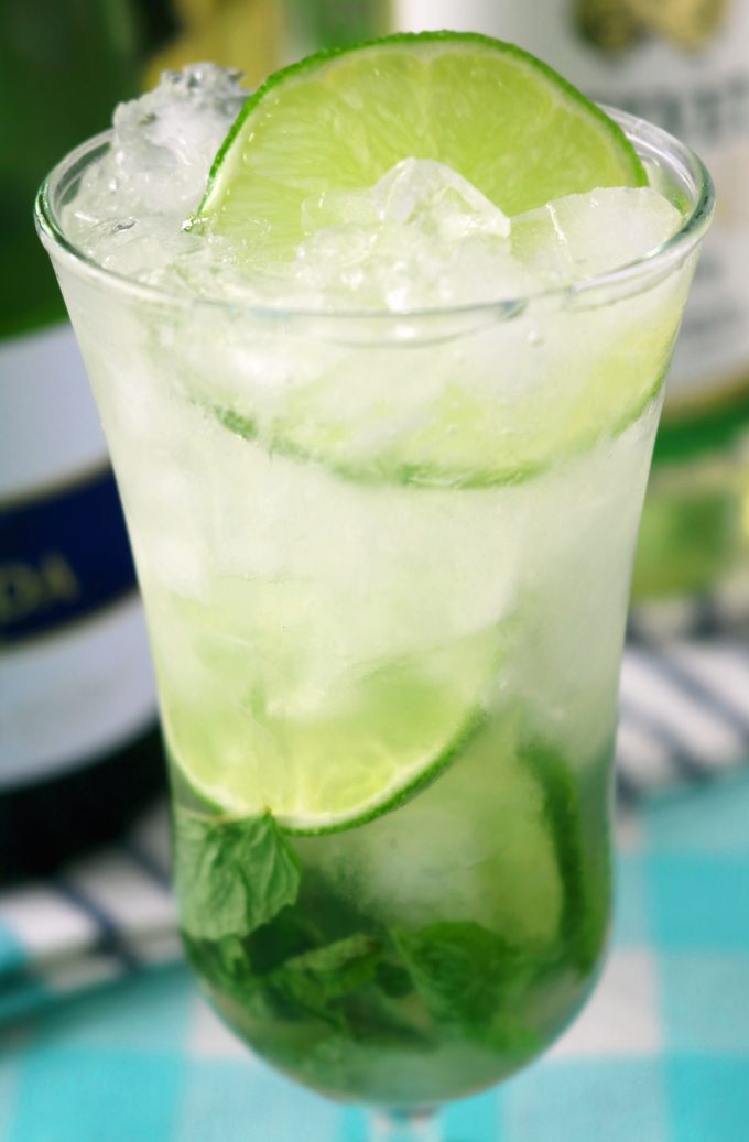 A close up shot of the cocktail. A round slice of lime is floating on top and on the bottom are mint leaves and more lime slices.