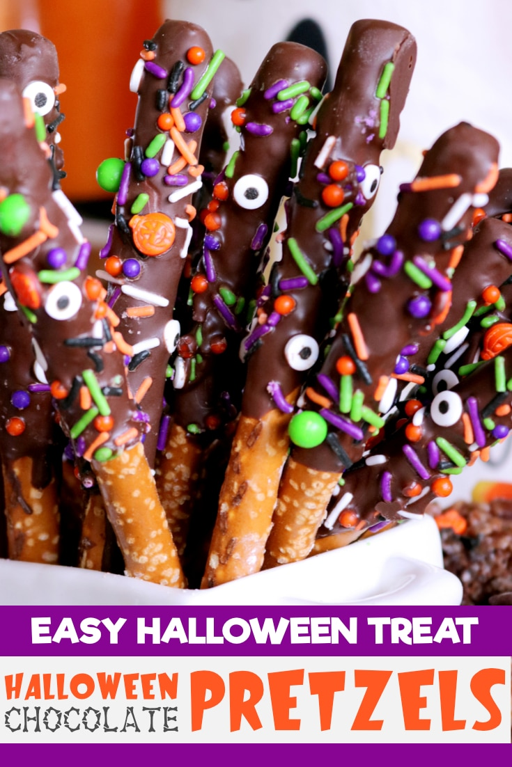Easy Halloween pretzels are the perfect Halloween treat, featuring chocolate covered pretzels and festive sprinkles! #halloweenpretzels #halloweendesserts #halloweentreats #halloweenfoodforkids #halloweenfoodforaparty #easyhalloweenrecipes #trunkortreating #halloweenrecipes #halloweenfood #halloweenpartyfood #halloween #creepyhalloweenfood