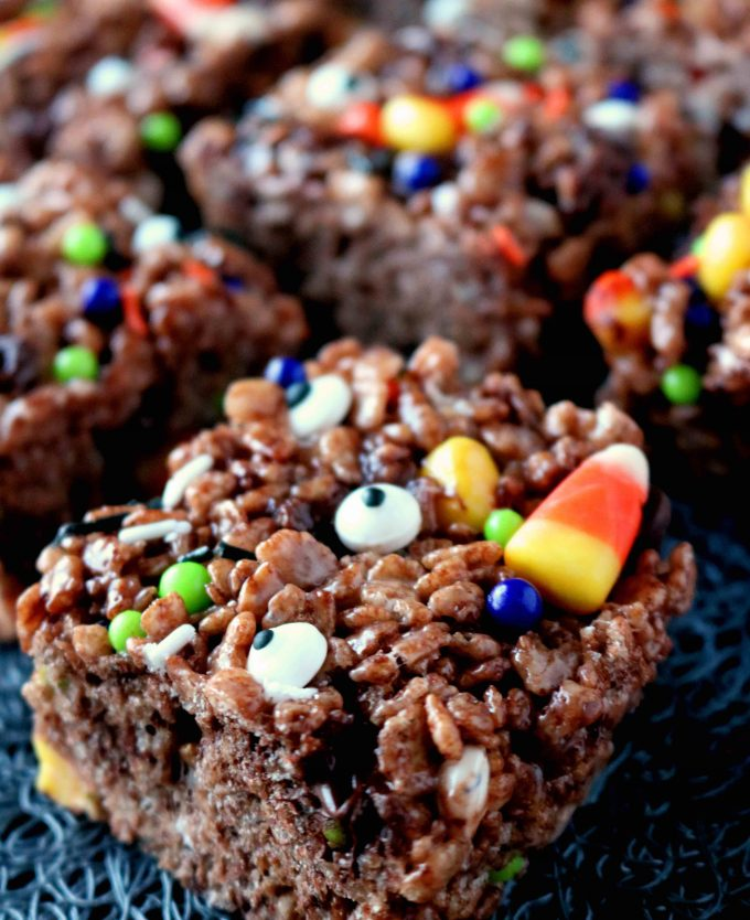 A Halloween treats idea, featuring Cocoa Krispies, candy corn, and festive sprinkles.