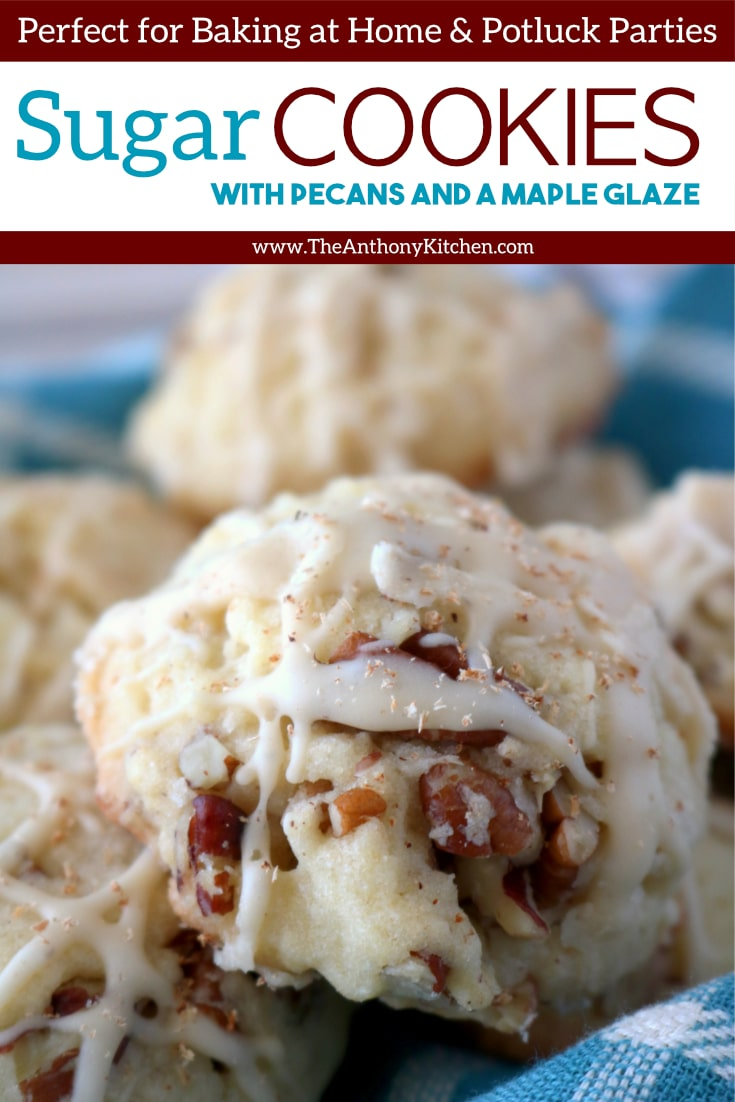 A fall cookie recipe featuring the best soft sugar cookie studded with pecans and drizzled with a maple glaze. An easy cookie recipe that makes for a sweet appetizer idea, and a easy party dessert to feed a crowd! #theanthonykitchen #easycookierecipe #fallrecipes #cookierecipes #falldessert #sugarcookies #cookieswithnuts #pecans #cookieswithpecans #fallappetizer #thanksgivingrecipe #thanksgivingdessert #dessertrecipe #bestcookierecipe #cookie