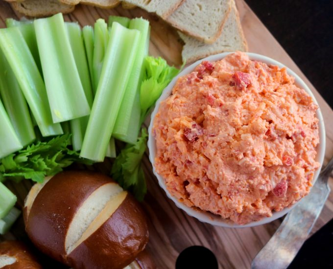 An easy pimento cheese recipe, featuring freshly grated Cheddar and Havarti cheese.