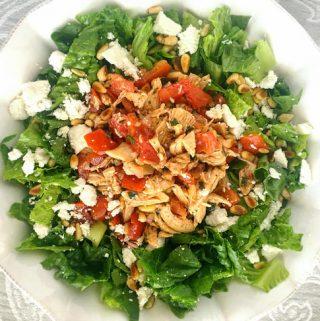 Chicken Bruschetta Over Romaine   Salad Recipe