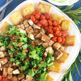 Turkey Club Salad with Avocado-Green Goddess Dressing