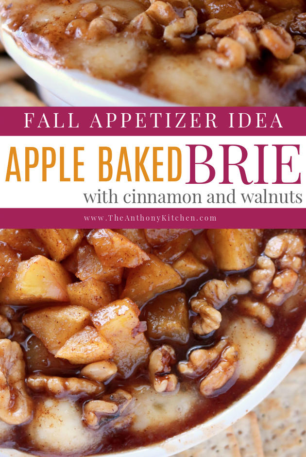An apple brie appetizer, featuring baked brie with apples and walnuts.