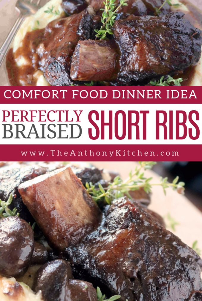 A recipe for short ribs braised in a red wine sauce with mushrooms and fresh herbs.