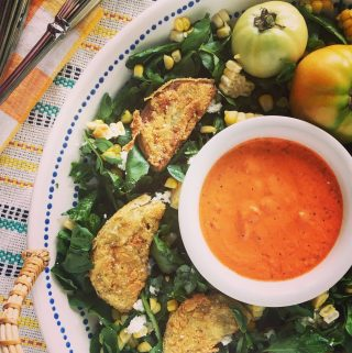 Fried Green Tomato and Watercress Salad with Zingy Roasted Red Pepper Dressing | Salad Recipe
