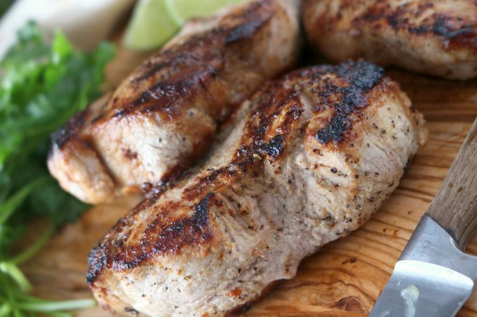 Perfectly cooked marinated pork chops, featuring a quick and easy cilantro lime marinade and thick-cut, boneless pork chops.