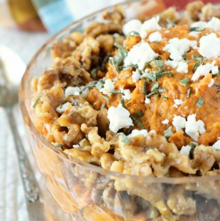 Mashed Sweet Potatoes with Goat Cheese and Honey Walnuts | Side Dish Recipe