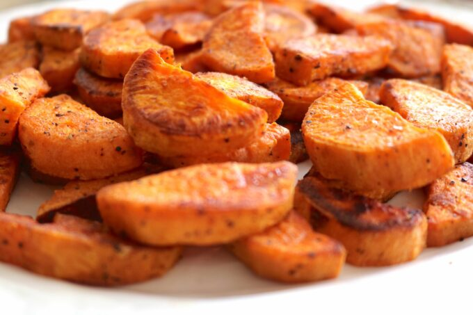 Easy recipe featuring sweet potatoes crescentsseasoned with smoked paprika androasted.
