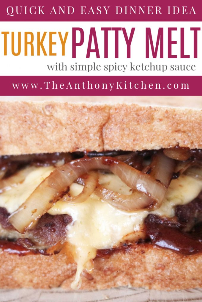 An easy, low-fat patty melt recipe, featuring a ground turkey patty, with smoked cheese, onions and wheat toast.