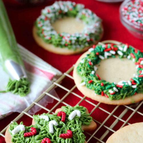 Christmas Wreath Cookies.Iced Sugar Cookies