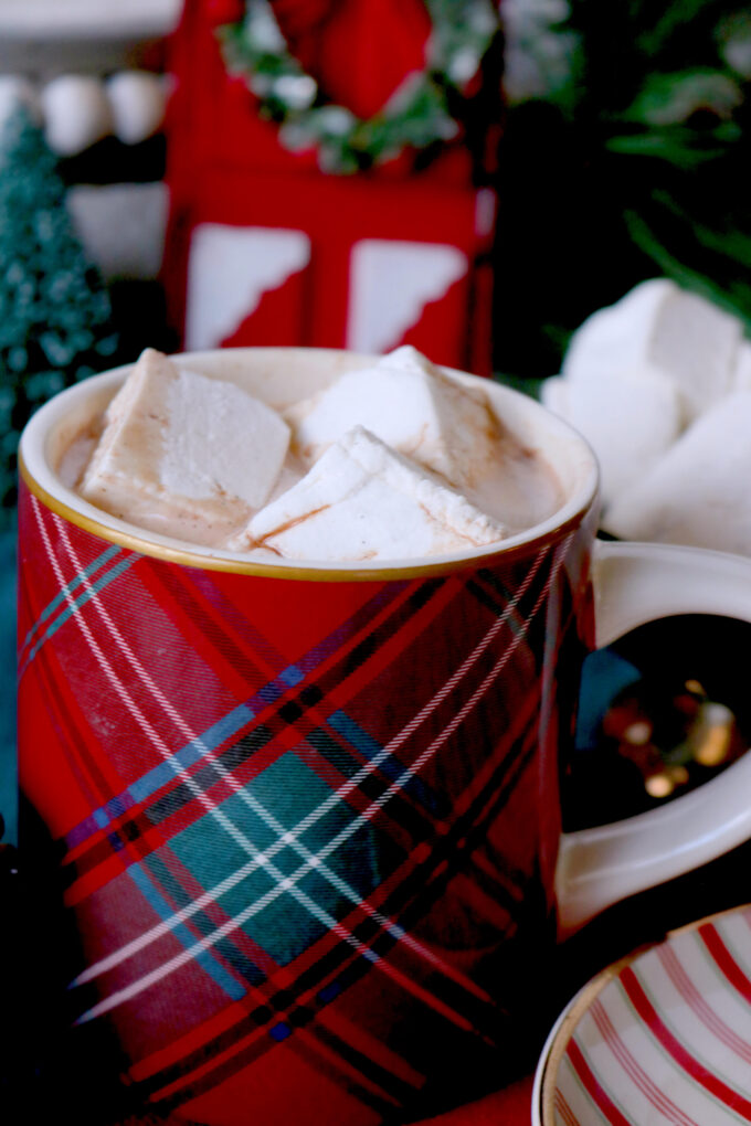 A red plaid coffee mug full of Hot Chocolate and three square marshmallows.  In the background is an assortment of Christmas decorations.