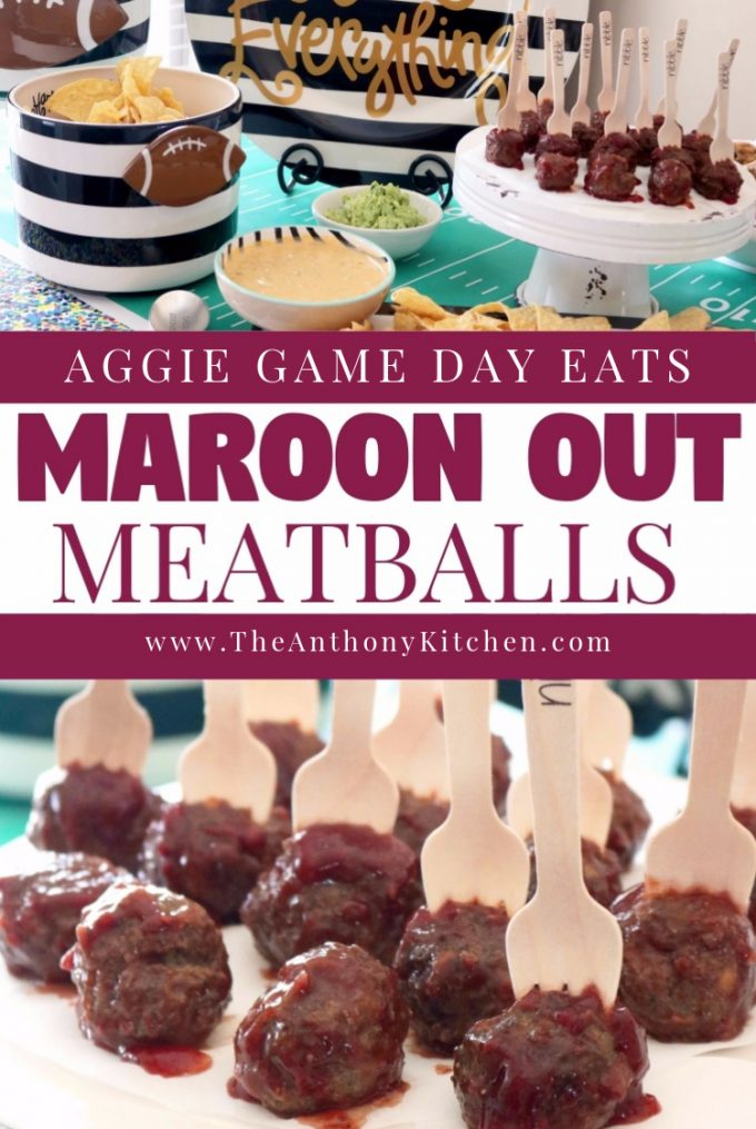 An Aggie game day food idea, featuring ground beef meatballs, covered in a sweet and (slightly) spicy chipotle-raspberry barbecue sauce.