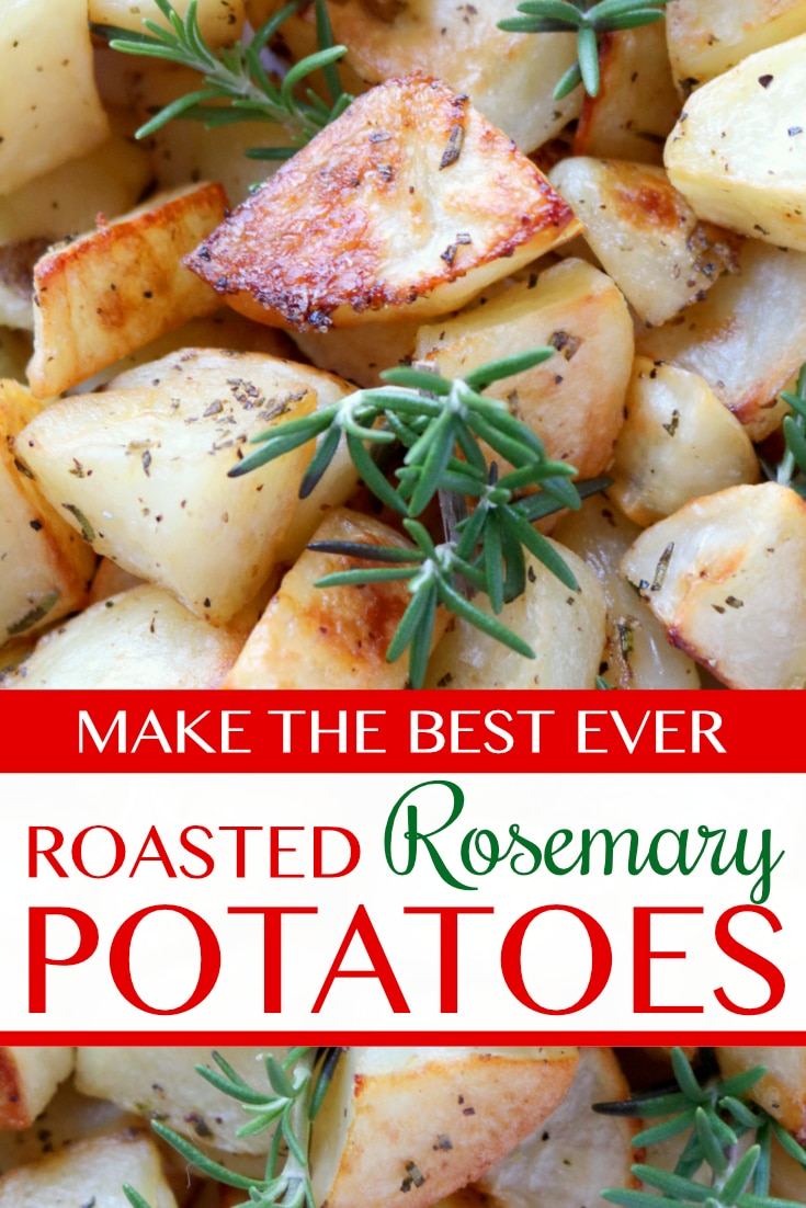 How to make perfect roasted rosemary potatoes using the trick you need to get crunchy, crispy oven-roasted potatoes! Sure to be your go-to dinnertime side! #potatoes #ovenroastedpotatoes #rosemarypotatoes #potatorecipes #sidedish #sidedishrecipes
