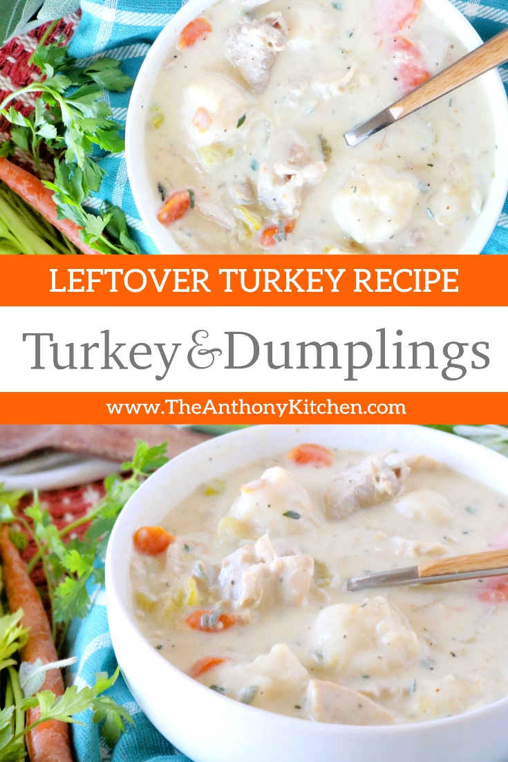 A leftover Thanksgiving turkey recipe for Turkey and dumplings! Featuring leftover turkey, carrots, celery, and homemade dumplings. A perfect family dinner and a great way to use up those Thanksgiving leftovers! #turkeyrecipes #leftoverrecipes #leftovers #thanksgivingleftovers #turkeyleftovers #thanksgivingrecipes #thanksgivingfood #thanksgiving