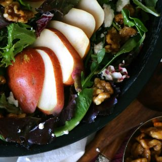 Pear Salad with Goat Cheese with Apricot-Balsamic Vinaigrette and Honey Walnuts | Recipe
