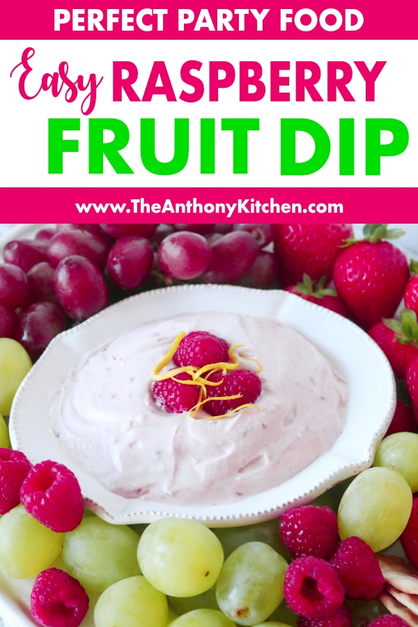 Pinterest image of Raspberry Fruit Dip with Cream Cheese