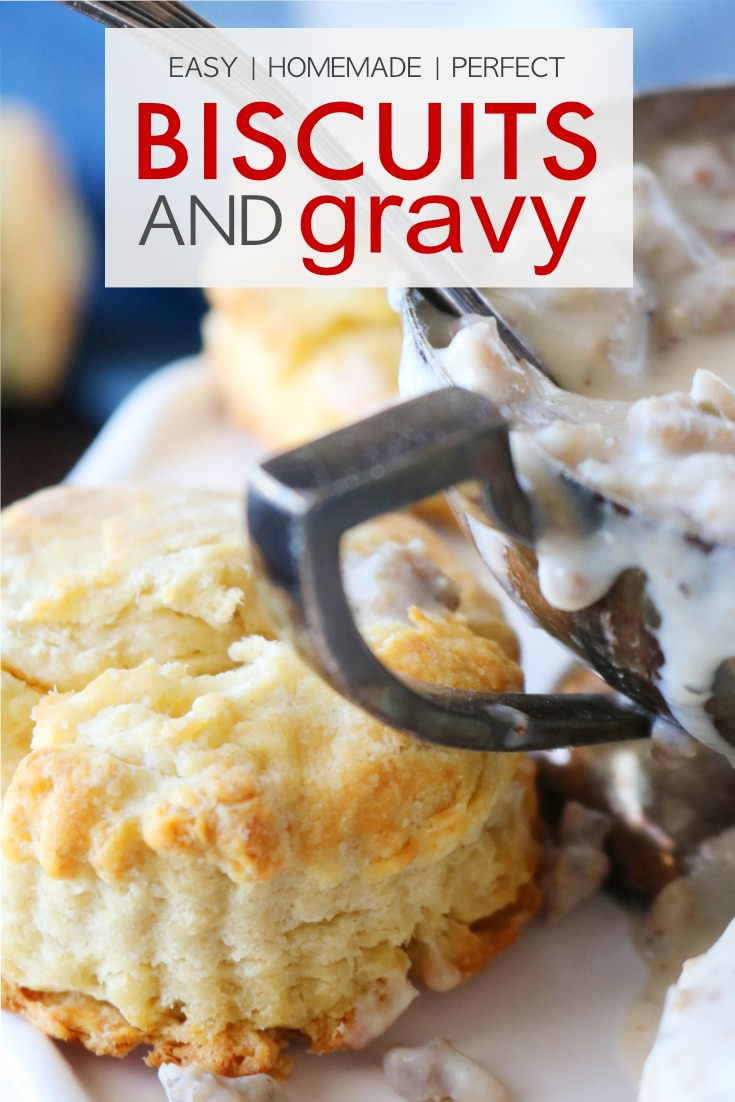 An easy recipe for perfect homemade biscuits and gravy, featuring a simple how-to for easy, homemade biscuits and the best recipe for scratch-made sausage gravy. #biscuitsandgravy #theanthonykitchen #comfortfood #breakfastrecipe #sausagegravy #homemadebiscuits