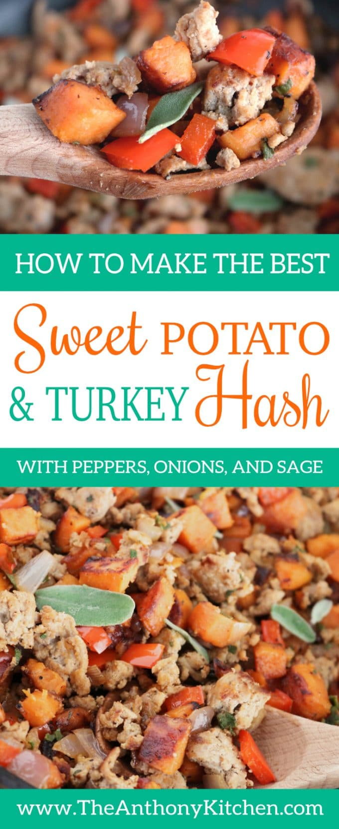 HEALTHY SWEET POTATO HASH WITH TURKEY, PEPPERS, ONIONS, AND SAGE