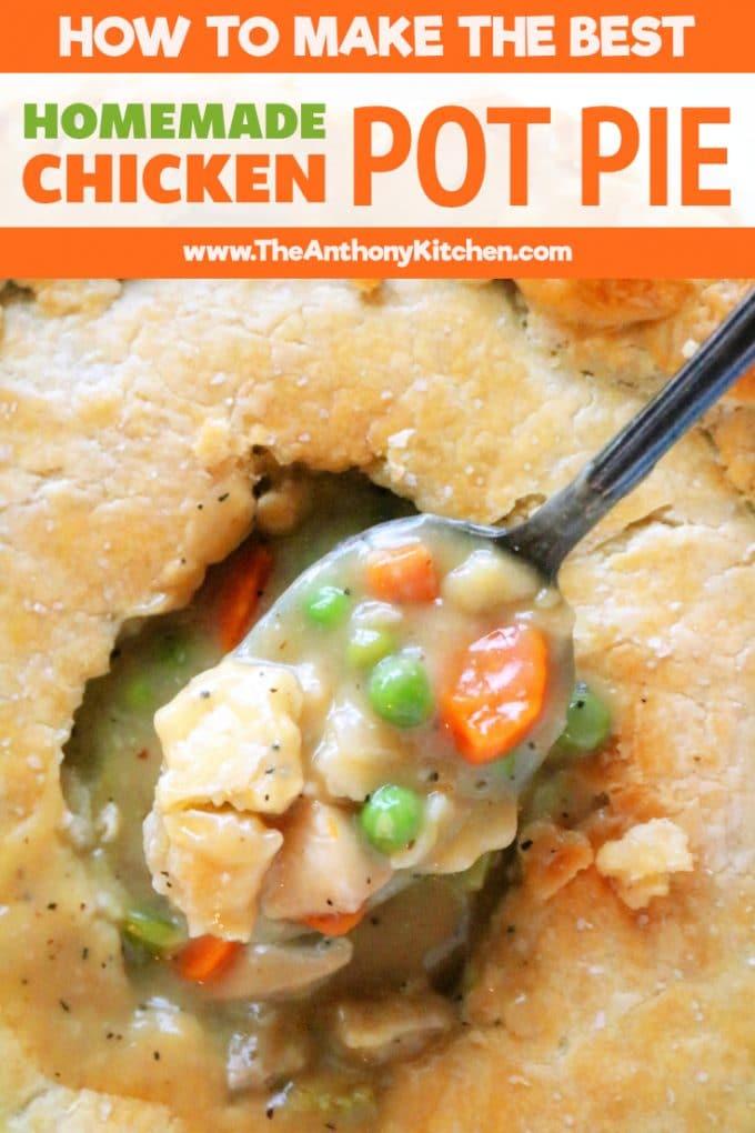 Pinterest image of Homemade chicken pot pie