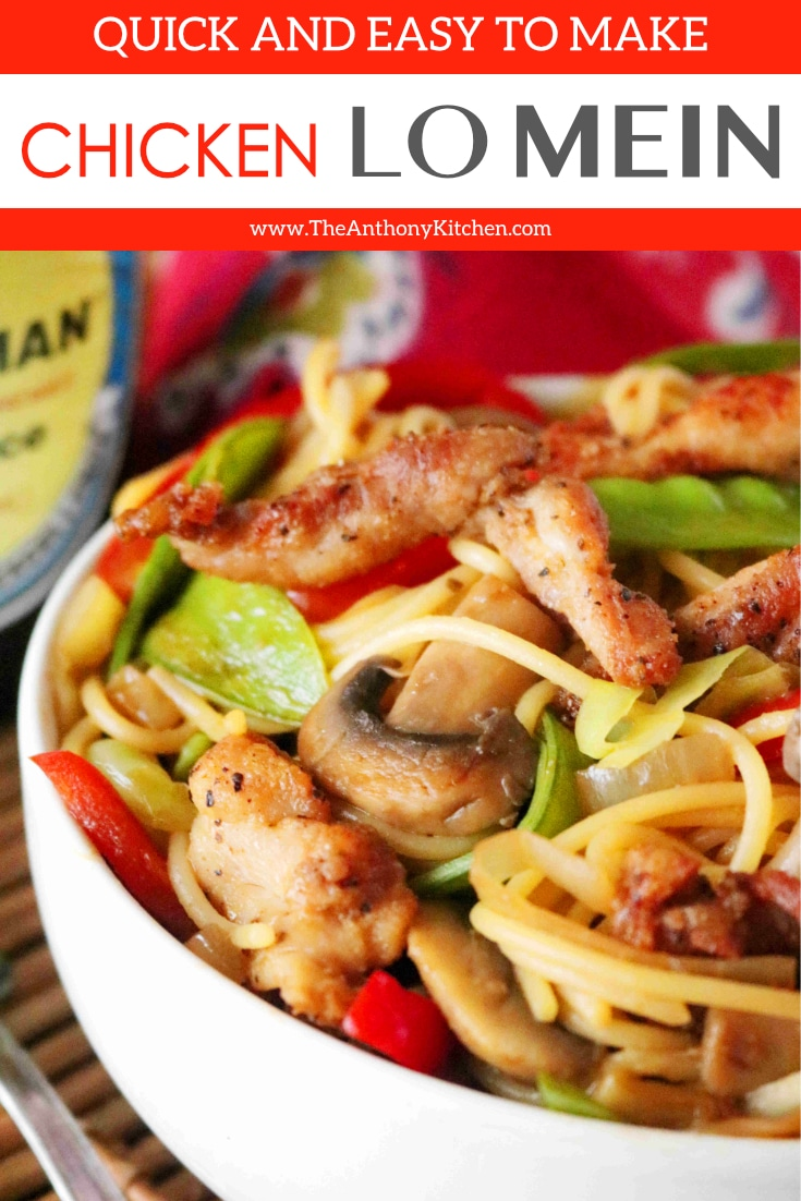 An easy recipe for lo mein with chicken at home, featuring pan-seared boneless, skinless chicken thighs, pasta, and vegetables. Plus, how to make a simple lo mein sauce! #chickenlomein #lomein #easyasianfood #chinesefood #chinesenoodles #chickendinner #chickenrecipes #asiannoodles #dinnerrecipes #theanthonykitchen