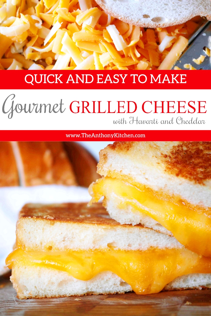 How to make the perfect grilled cheese sandwich! This simple recipe takes an American classic and gives it a gourmet boost, featuring freshly grated Cheddar and Havarti cheese. #dinnersandwich #kidfriendlydinner #sandwichrecipes #gourmetgrilledcheese #bestgrilledcheese #dinnerideas #kidfood #easydinnerideas