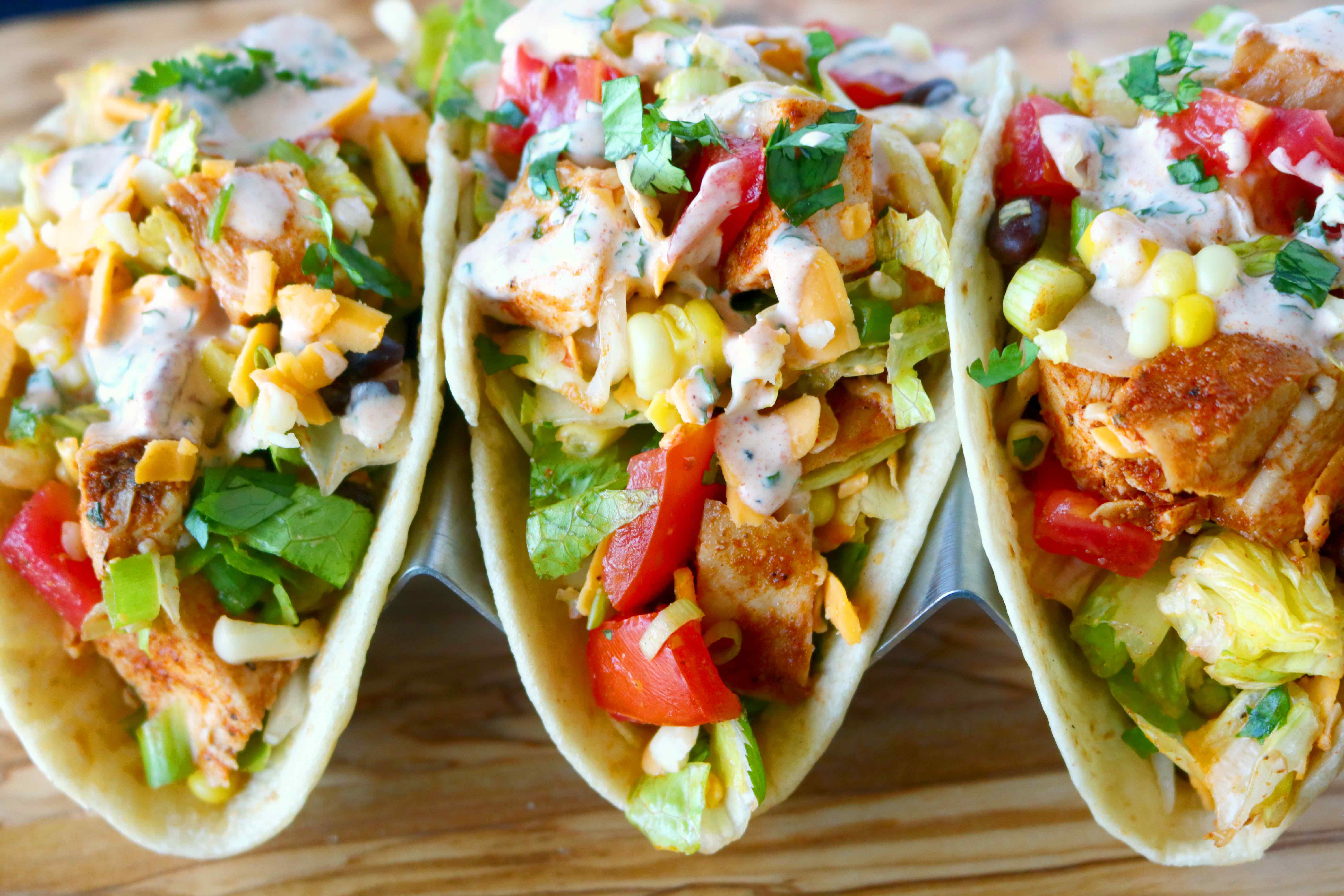 Southwest Chopped Chicken Salad Tacos