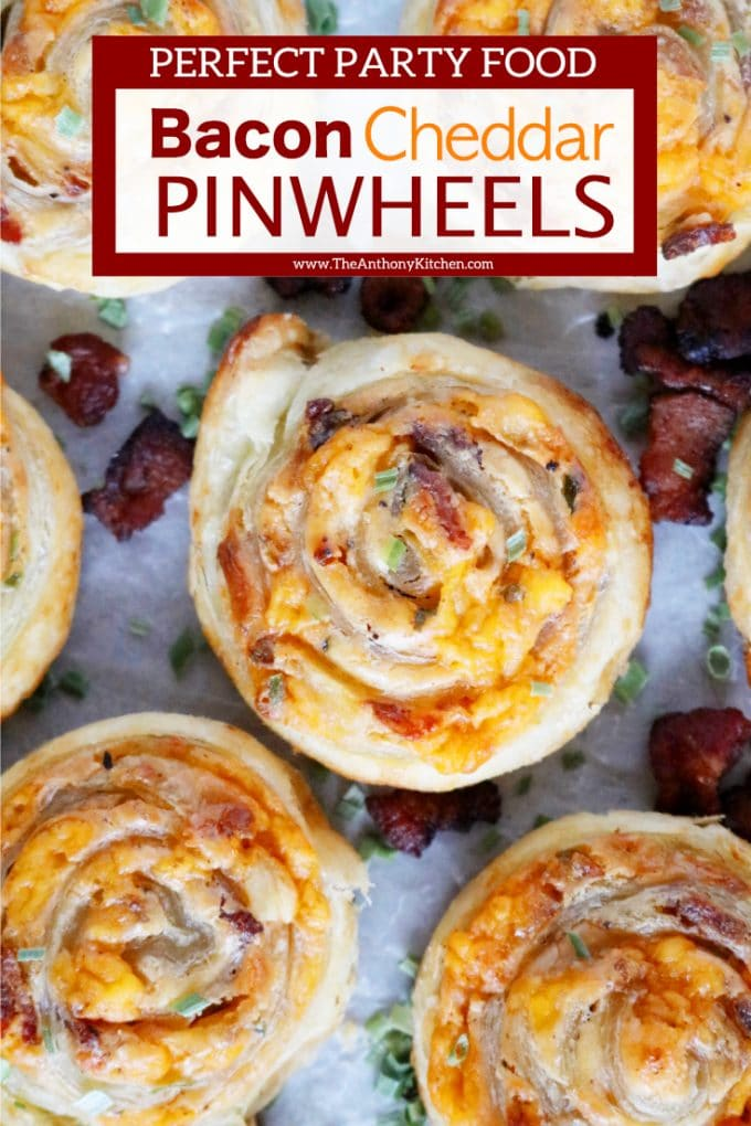 PUFF PASTRY PINWHEELS WITH BACON AND CHEDDAR