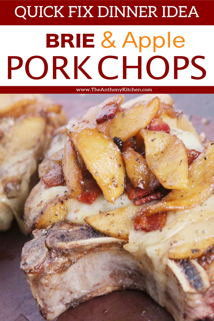 How to cook juicy, thick-cut pork chops in the oven. Featuring oven-baked smothered pork loin chops with brie, bacon, and spiced apples. #porkchops #porkchoprecipes #smotheredporkchops #porkchopswithapples #dinnerideas #fallrecipes #comfortfood #dinnerrecipes #porkrecipes #theanthonykitchen #pork