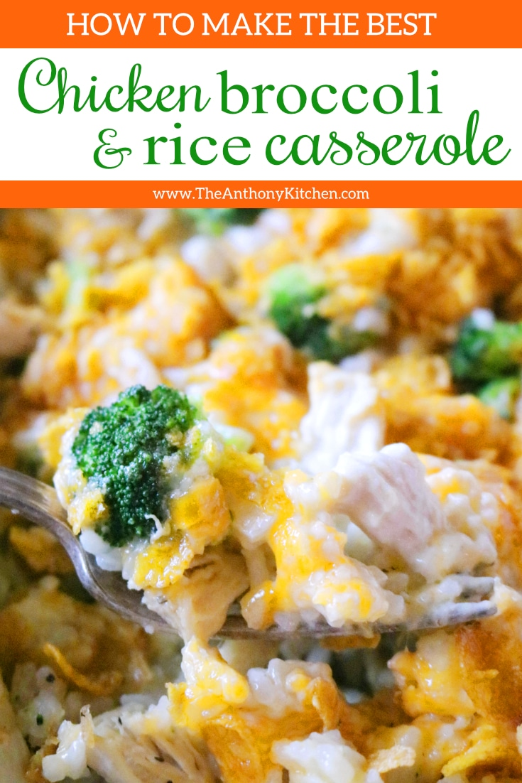 The best, Cheesy Chicken Broccoli Rice Casserole featuring melty ColbyJack cheese and a crunchy Cornflake topping. The perfect comfort food casserole! #dinnercasseroles #casserolerecipes #casseroles #chickencasserole #chickenandrice #dinnerideas #familydinnerideas #comfortfood #classiccomfortfood #dinnerrecipes #easydinnerideas