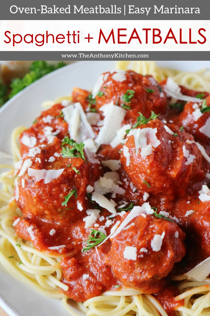 How to make the best spaghetti and meatballs from scratch! Featuring homemade meatballs baked in the oven, and a simple marinara sauce recipe. #easymarinara #ovenbakedmeatballs #spaghettiandmeatballs #spaghettisauce #spaghettidinner #dinnerideas #dinnerideasforkids #familydinner #pasta