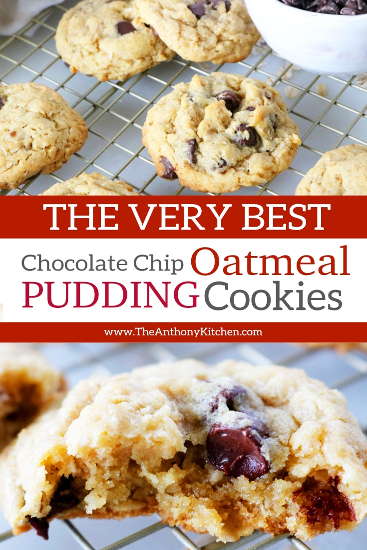 An oatmeal chocolate chip cookie recipe made with old-fashioned oats, semi-sweet chocolate chips, and instant vanilla pudding to keep them soft and chewy! A crowd-pleasing cookie guaranteed to be an absolute hit! #cookierecipes #oatmealchocolatecookies #bestcookierecipes #puddingcookies #bestcookierecipes #easycookierecipes #dessert #dessertforaparty #partyfood #potluckrecipes #fallrecipe #fallbaking #gamedayfood #tailgatingrecipes #footballfood