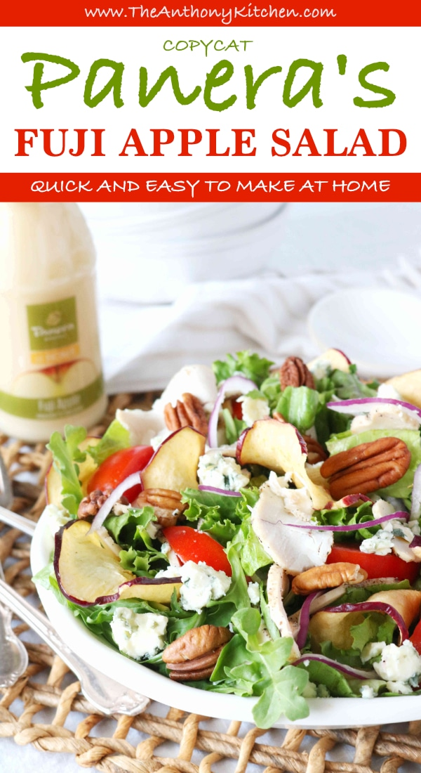 Easily make the Panera Fuji Apple Salad at home! Featuring a perfect replica recipe of the salad, which brand of apple chips to use and where to find Fuji Apple Vinaigrette Dressing. #fallsalad #saladrecipe #healthyfallrecipe #Panera #panerafujiapplesalad #applerecipes #saladwithapples #chickensalad #saladwithchicken