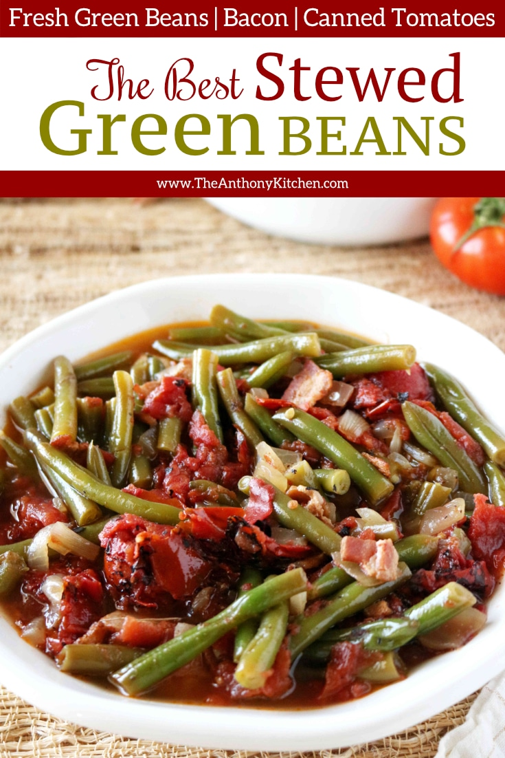 The best recipe for Southern stewed green beans with tomatoes! An easy, slow-cooking side dish made special with fresh green beans, bacon, and fire-roasted canned tomatoes. #greenbeanrecipes #vegetablesidedishes #sidedishesforcrowd #easysidedishrecipes #Southernsidedishes #holidaysidedishes #glutenfree