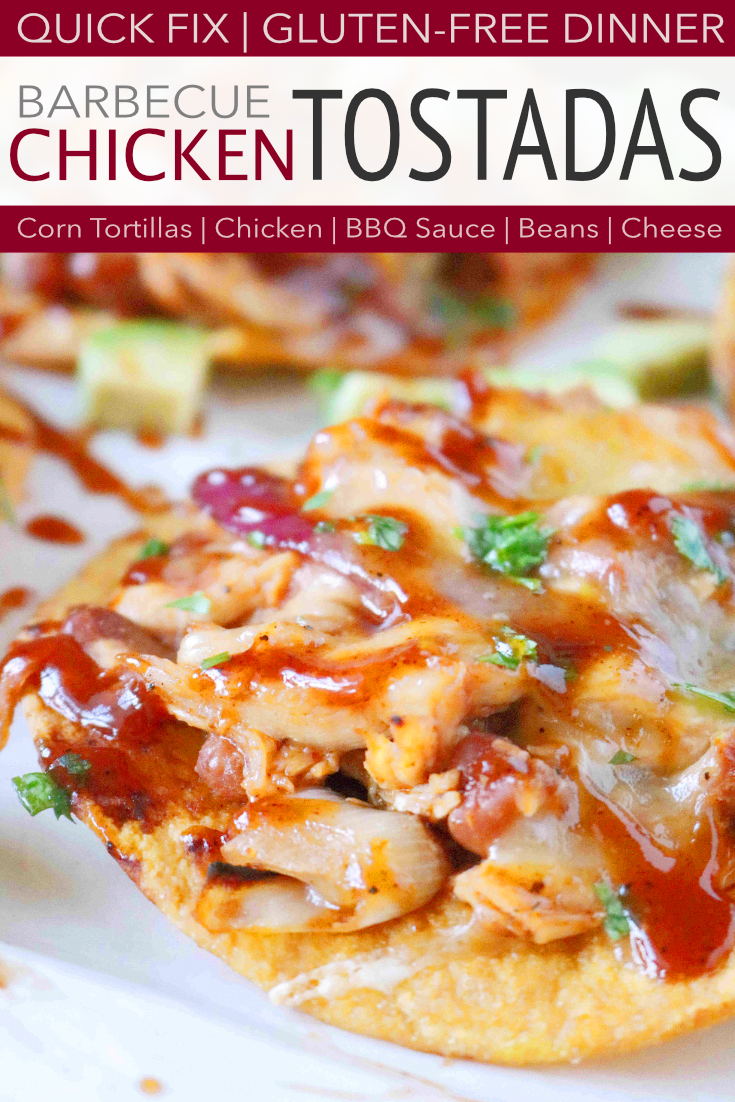 The best quick-fix, gluten-free chicken tostada recipe featuring made-from-scratch tostada shells, chicken, BBQ sauce, and Colby Jack cheese! #chickentostada #tostadarecipes #bbqchickenrecipes #quickfixdinner #dinnerrecipes #theanthonykitchen